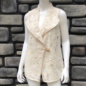 Sleeveless Sweater Jacket Creme NWT Per Se sz 8